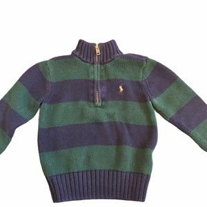 Boy Ralph Lauren Polo Blue and Green Strip Sweater